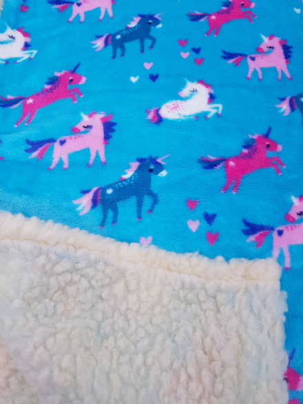 Cuddle fleece super soft Turquoise cuddle fleece  UNICORN DOG / CAT blanket